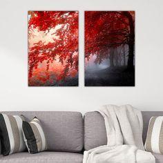 Δίπτυχος πίνακας σε καμβά Red Forest Tapestry, Red, Home Decor, Hanging Tapestry, Tapestries, Decoration Home, Room Decor, Home Interior Design, Needlepoint