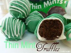 No Bake Thin Mint Truffles - only 4 ingredients!    Thin Mint Truffles       makes 24  1 9oz box Girl Scout Thin Mints {Or Keebler's Grasshopper Cookies!}  4 oz fat free cream cheese, slightly softened  8 oz Guittard's green mint chips *  8 oz white chocolate chips or white chocolate bark    In a food processor, pulse the Thin Mints a few times, an