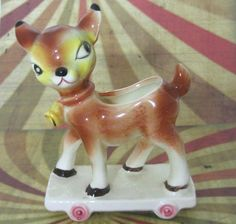 Vintage Deer Fawn Figurine Decor Cup Holder by vintageeclecticity, $24.50