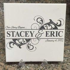 Monogram Ceramic Tile  Engraved Family Name  by ArcLightLaser