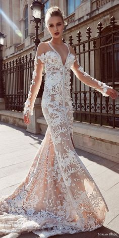 miriams bride 2018 bridal long sleeves deep v neck full embellishment elegant sexy fit and flare wedding dress chapel train (6) mv -- Miriams Bride 2018 Wedding Dresses