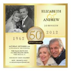 These Elegant Golden Anniversary Invitations are a beautiful choice of Wedding Anniversary Invitiations. This style is wonderful if y. 50th Anniversary Invitations, Wedding Anniversary Photos, Photo Wedding Invitations, Golden Anniversary, Anniversary Parties, Anniversary Ideas, 50th Anniversary Decorations, Faire Part Photo, 2 Photos