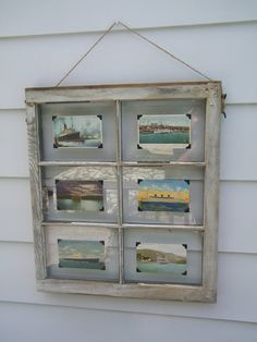 Vintage Nautical Ship Post Cards on an old 6 Pane, White Distressed Window. $50.00, via Etsy.