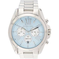 Michael Kors Bradshaw Chronograph Stainless Steel Watch, 43mm ($129) ❤ liked on Polyvore featuring jewelry, watches and silver