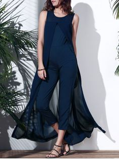 SHARE & Get it FREE | Trendy Jewel Neck Sleeveless Solid Color Irregular…
