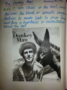Anzac Day Reading Unit - The Donkey Man Graphic Organisers, Math Groups, Becoming A Teacher, Anzac Day, I School, School Ideas, The Donkey, Kids Writing, Reading Strategies