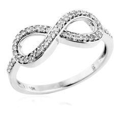 Ladies Diamond Infinity Ring in White Gold