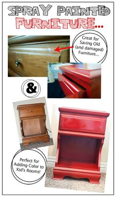 Easy furniture transformation with spray paint, modge podge and scrapbook paper!