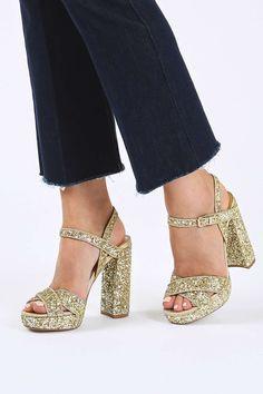 MAJOR Cross Strap Glitter Sandals