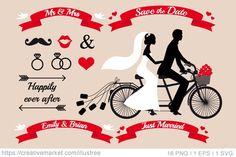 Wedding tandem bicycle, vector by Illustree on @creativemarket