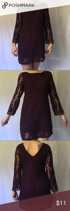Deep purple formal dress This adorable lace dress can be worn in all seasons! Great condition! Xhilaration Dresses Long Sleeve