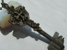 Steampunk Gothic Cross Key necklace  with vintage by HotTime, $24.00