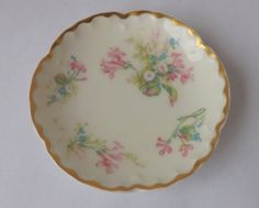Vintage Haviland Limoges pink floral butter pat plate embossed china shabby cottage style decor by trendybindi