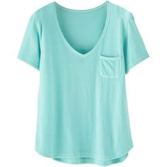 Wrap London Delilah T-Shirt , Bright Jade (175 RON) ❤ liked on Polyvore featuring tops, t-shirts, shirts, tees, bright jade, short sleeve tops, blue v neck t shirt, bright colored t shirts, v neck shirts and bright t shirts