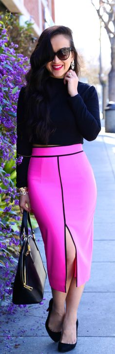 "High Waisted in Pink By KTRStyle. I'm not a ""pink lover"", but I make the color look so friigin good against my sofchoclat shade of brown!!"