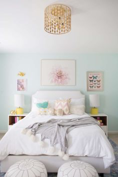 blue, yellow, and white little girl room