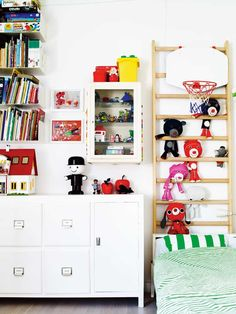 ladder by window bed for stuffed toys - adorable