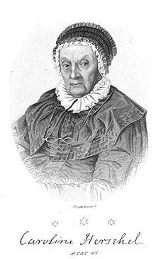 Caroline Herschel (1750 – 1848) was a German-British astronomer and the sister of astronomer Sir William Herschel with whom she worked throughout their careers. Her most significant contribution to astronomy was the discovery of several comets. At the age of ten, Caroline was struck with typhus which stunted her growth, so that she never grew past 4'3. Her family assumed that she would never marry and that it was best to train her to be a servant. Instead she became a significant astronomer.