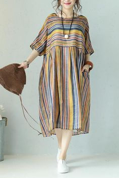 Vintage Striped Women Loose Dresses Summer Clothes Q1127