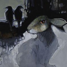 Linda Kemp - Little Beasts Human Painting, Interesting Animals, Abstract Animals, Animal Quilts, Rabbit Art, Animal Paintings, Figurative Art, Textile Art, Paintings