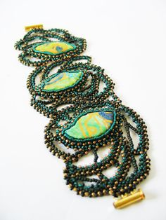 Bead embroidery   bracelet with natural silk handpainted cabochons Japanese beads