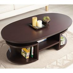Walnut Coffee Table Multi-Shelf Modern Oval Wooden Living Room Storage Brown New Living Room Storage, Furniture, Centre Table Living Room, Coffee Table With Storage, Centre Table Design, Wooden Living Room, Decorating Coffee Tables, Coffee Table, Living Room Table