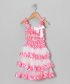 Take a look at this Pink Damask Tiered Ruffle Dress - Toddler & Girls by Royal Gem Clothing on #zulily today!