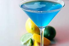 Blue Topaz Martini: 1 part DeKuyper® Pucker® Island Blue Schnapps, 1 part DeKuyper® Pucker® Sour Apple Schnapps, 1 part Coconut Rum   Shake and strain into a chilled martini glass with a splash of Sprite and lemon garnish.