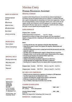 HR Resume Samples HR Assistant CV 5 HR Assistant Cover