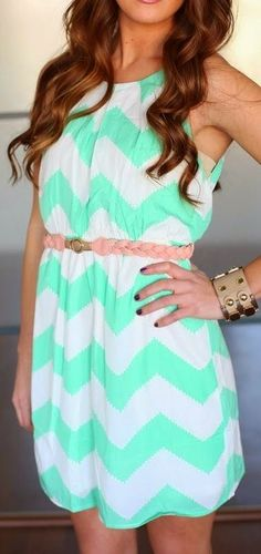 Mint & White Sleeveless Chevron Dress