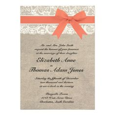 Ivory Lace Rustic Burlap Wedding Invitation- Coral #wedding #invitation