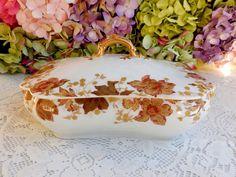 Antique 19c Haviland Limoges Porcelain Covered Serving Bowl Flowers Gold Gilt #HavilandLimoges