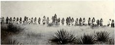 Chief Naiche horseback in center, Geronimo standing in front of Chief Naiche and the Chiricahua Apache warriors on the war path. (Photographer unidentified, ca. 1886)