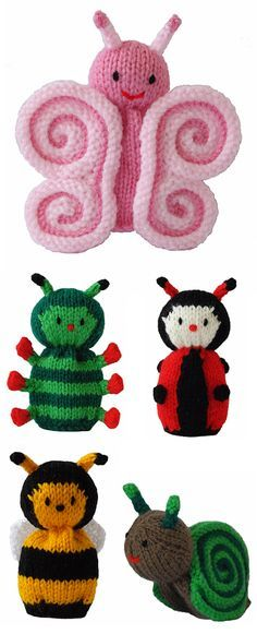 Free Knitting Patterns for Butterfly and Cutie Crawlies - This set from Knitables features a butterfly, caterpillar, ladybug, bee, and snail. Finished Height Approximately 12cm. The butterfly's wings are created ingeniously by rolling knitted fabric. Great use for scrap yarn. Designed by Sarah Gasson of Knitables.