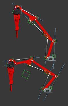 こういうメカのシリンダのリグは、こうやるといいみたいですな。各シリンダ2パーツあってそれが伸び縮みしているが、それぞれ基点の方のダミーに位置コンストレイントし、向かい側のダミーにルックアットコンストレイント。それをお互いにやる。