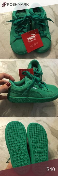 "Kids sneakers Super cute green PUMA sneakers! Insole of the sneaker is almost 7"" please see last two picture. Puma Shoes Sneakers"