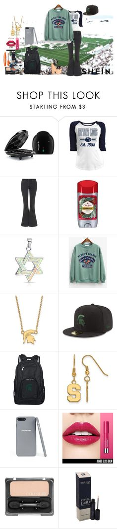 """""""Shein contest (use an orange print sweatshirt )"""" by naomig-dix ❤ liked on Polyvore featuring 5th & Ocean, Topshop, Old Spice, Bling Jewelry, LogoArt, New Era, Denco Sports Luggage and COVERGIRL"""