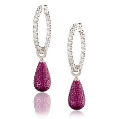 SAZINGG White Diamond Invisible setting Ruby Drop Earrings