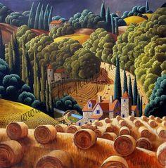 Electronic Art Gallery — Before the Storm By George Callaghan (Artist's. Landscape Art, Landscape Paintings, Landscapes, Illustrations, Illustration Art, Primitive Folk Art, Arte Popular, Naive Art, Electronic Art