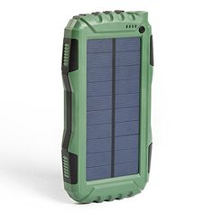 Portable Solar Power Bank Dual USB Output Battery Bank with Strong LED light, Elzle Outdoor Solar Charger Phone External Battery Shockproof Dustproof for iPhone Series, Smart Phone, Cell Phone Battery Charger, Solar Phone Chargers, Solar Charger, Portable Solar Power, Portable Generator, Amazon Deals, Led Flashlight, Usb, Safety