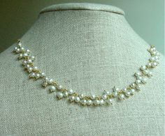 Gold Pearl Necklace by punkybunny300 on Etsy, $47.00