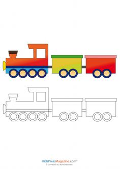 A coloring page consisting of a train to color and a fully colored train for reference, this activity is perfect for teaching Train Coloring Pages, Coloring Sheets For Kids, Colouring Pages, Coloring Books, Art Drawings For Kids, Kids Artwork, Drawing For Kids, Toddler Learning Activities, Craft Activities For Kids