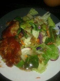 Shrimp burgers with a salad. Yummy!