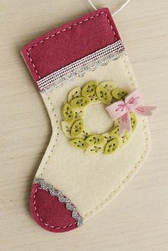Stocking Ornament With Wreath Embellishment by Erin Lincoln for Papertrey Ink (November 2015)