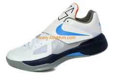 New Kevin Durant shoes KD IV White Midnight Navy Cool Grey Photo Blue  477677 100 57346d19655d