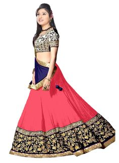 Buy online Navratri Special Pink Georgette A Lengha Choli. This attire embellished with resham zari embroidery, Lace & border patch work.  	   	Comes along with a matching dupatta and cho...