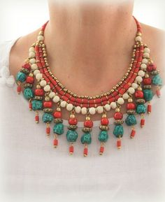 Antique Tibet Nepal Bib Choker Collar Necklace Vintage look Bohemian White bone beads Red coral Greenish Turquoise and brass fringe necklace