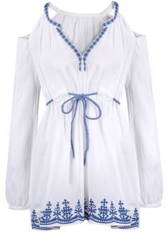 Shop White Off the Shoulder Embroidered Blouse online. Sheinside offers White Off the Shoulder Embroidered Blouse & more to fit your fashionable needs. Free Shipping Worldwide!