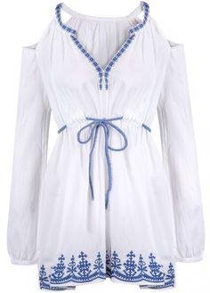 Blusa bordada hombro al aire-blanco