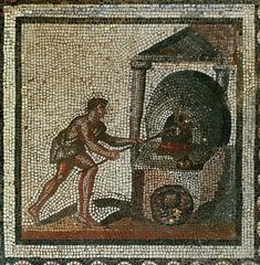 Roman mosaic, putting bread into the oven, 1st half 3rd CE, from a series showing agricultural work throughout the year, from Saint Romain-en-Gal, France.